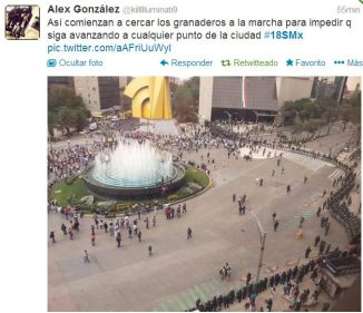 Cerco a manifestantes en el Caballito de Reforma para que no avancen al Zócalo #18SMX