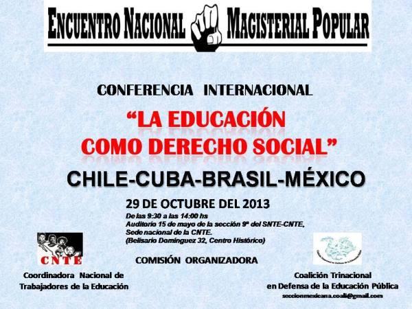 """23 Nov. Conferencia Internacional, """"La educación como derecho Social"""""""