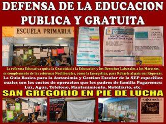 El Pueblo de San Gregorio en Defensa de la Educación Pública CNTE