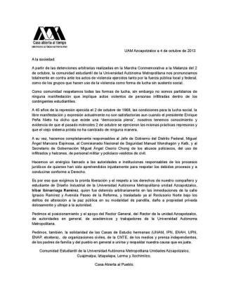 Pronunciamiento de la UAM ante los hechos ocurridos el 2 de octubre