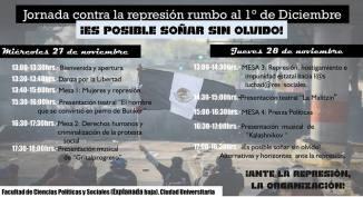 #Jornada1DMx contra la represión rumbo al 1° de diciembre del 2013: ¡Es posible soñar sin olvido! FCPyS CU