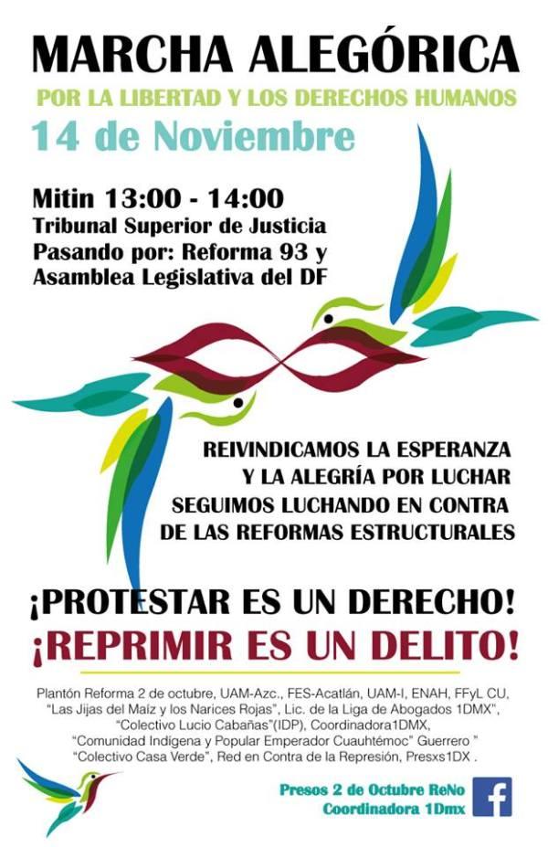 Marcha Alegórica por la Libertad #Presos2deOctubre y los Derechos Humanos.14 de Nov. TJDF