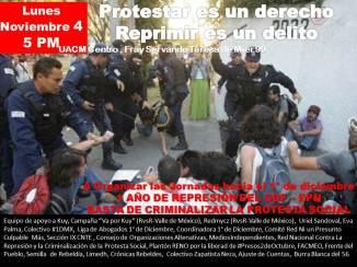 Jornadas contra la Represión y la Crimianlización hacia el 1° de Diciembre, Reunión 4 Nov. 5 PM en UACM Centro