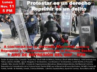Lun. 11 Nov. 5 PM, UACM Centro, Jornada Nacional contra la Represión y la Criminalización de la Protesta Social