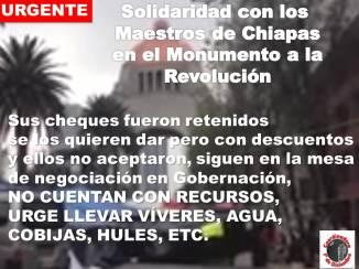 Urge solidaridad con maestros de Chiapas en el Monumento a la Revolución