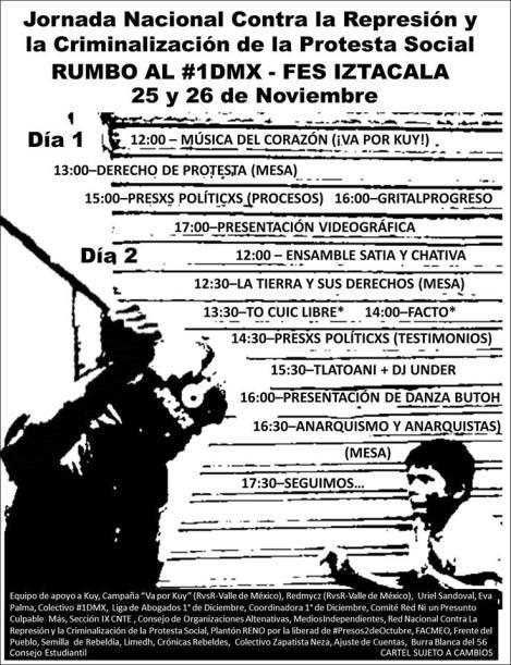 26 y 26 Nov. en FES Iztacala Jornada Nacional contra la Represión y la Criminalización de la Protesta Social