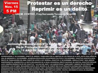 Nov. 15 Reunión Jornada Nal. contra la Represión y Criminalización de la Protesta Social UACM Centro 5 PM