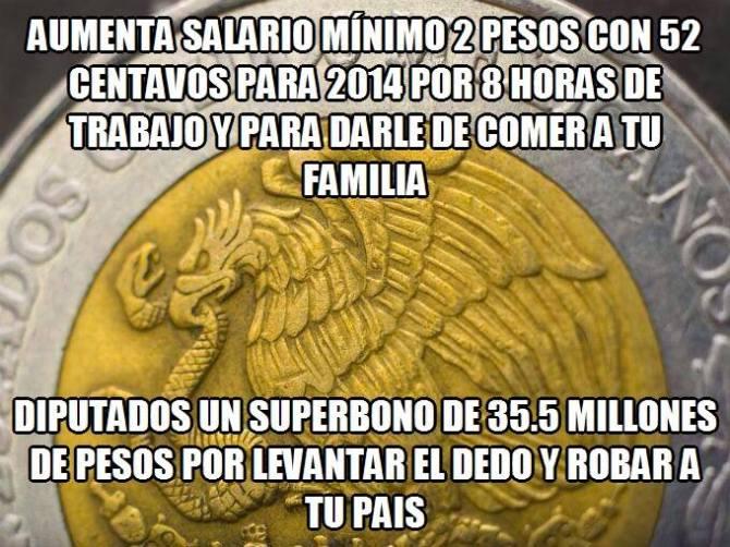 Para diputados levanta dedos, millones en superbono, para los trabajadores 2 pesos 52 centavos en salario mínimo