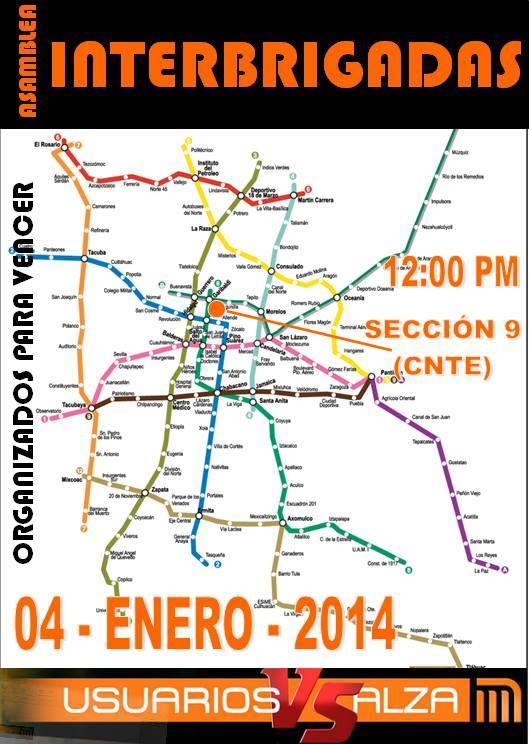 Enero 4 de 2013, Reunión Interbrigadas 12 Hrs, Belisario Domíngueza 32, DF.
