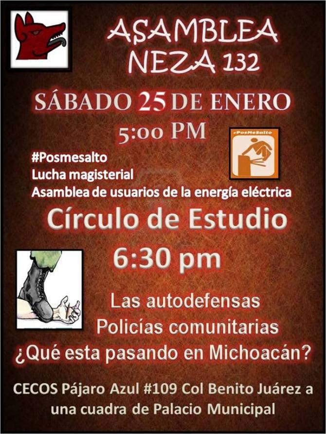 Asamblea Neza 132 Sáb. 25 Enero 5 PM en CECOS #PosMeSalto Lucha Megisterial, usuarios de energía...