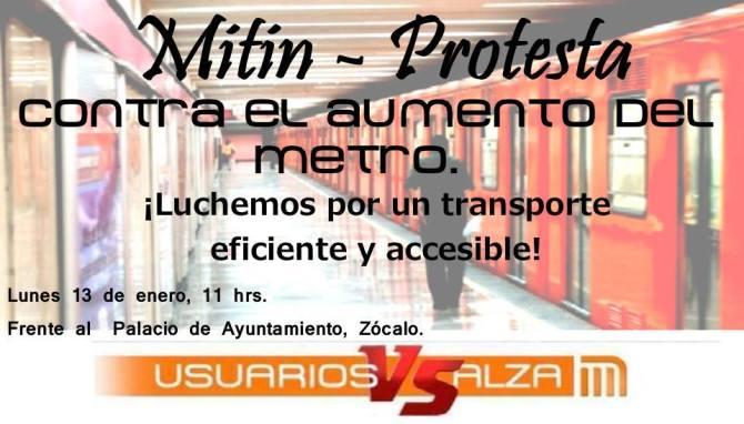 Mitin - Protesta contra el aumento al metro, enero 13, 11 AM frente al Palacio del Ayuntamiento, Zócalo DF #PosMeSalto #MetroPopular