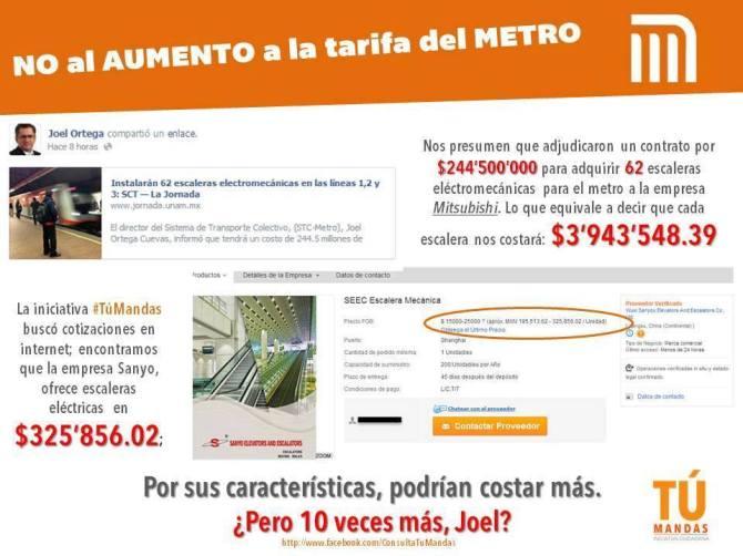 #PosMeSalto #MetroPopular Joel Otega Director del Metro comprará escaleras eléctricas 10 veces más caras.