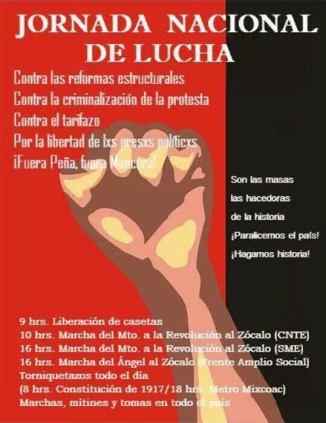 Enero 31 Jornada Nacional de Lucha contra las Reformas Neoliberales, el tarifazo, la criminalización de la protesta