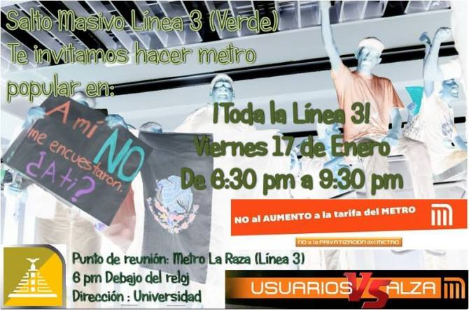 #MetroPöpular #PosMeSalto Enero 17 en toda la línea 3 - verde de 6 a 9:30 PM cita en Metro La Raza