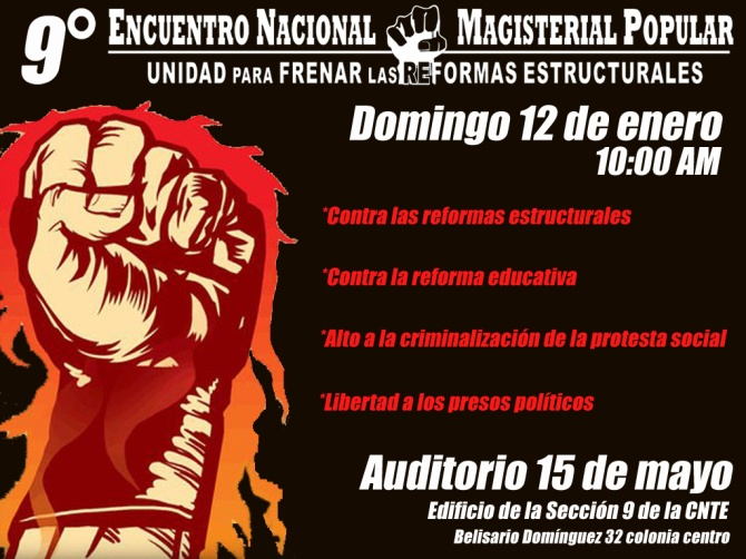 Enero 12, 10 AM 9° Encuentro Nacional Magisterial y Popular