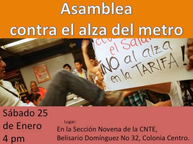 Asamblea  contra el alza en el metro, sábado 25 de enero 4 PM en Belisario Domínguez 32 DF