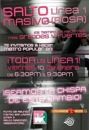 Enero 10 #MetroPopular en toda La Línea 1 (rosa) de 6:30 PM a 9:30 PM #PosMeSalto