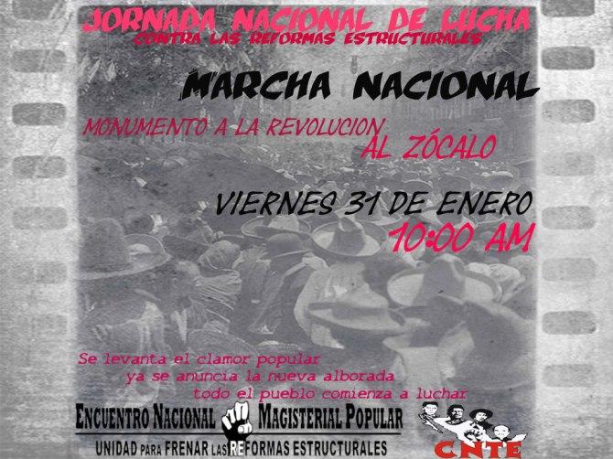 Enero 31 Marcha nacional contra las reformas estructurales 10 AM Revolución al Zócalo
