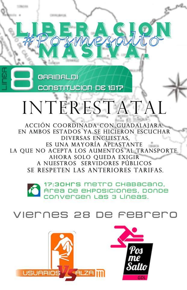 Acción conjunta Guadalajara DF #PosMeSalto 28 de Febrero 17:30 Hrs. Metro Chabacano