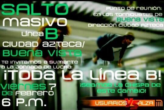 #PosMeSalto #MetroPopular en la Linea B Ciudad Azteca - Buena Vista febrero 7 desde 6 PM