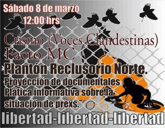 Sábado 8 de marzo en el Plantón Reclusorio Norte Proyecciones, Información, Música. #LibertadPresos2deOctubre