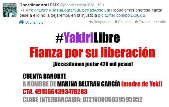 URGENTE se requiere juntar 420 mil pesos para arrancar a #Yakiri de la cárcel y seguir luchando #HastaConseguirSuLibertadAbsoluta