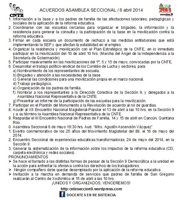 Acuerdos Asamblea Seccional 8 abril