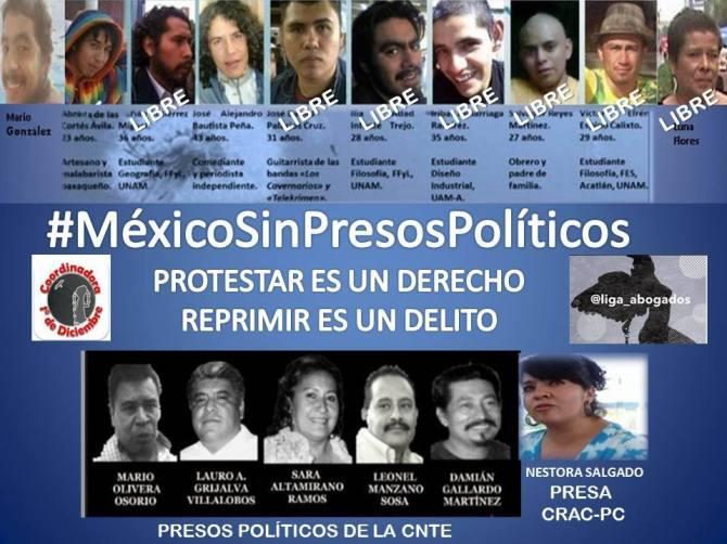 #LibertadPresos2deOctubre Alejandro Bautista, Abraham Cortés y Mario González, Libertad a presos de la CNTE, Libertad a Nestora Salgado
