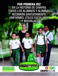La propaganda de entrega de uniformes y mochilas verdes en Chiapas, gobernada por Manuel Velasco.