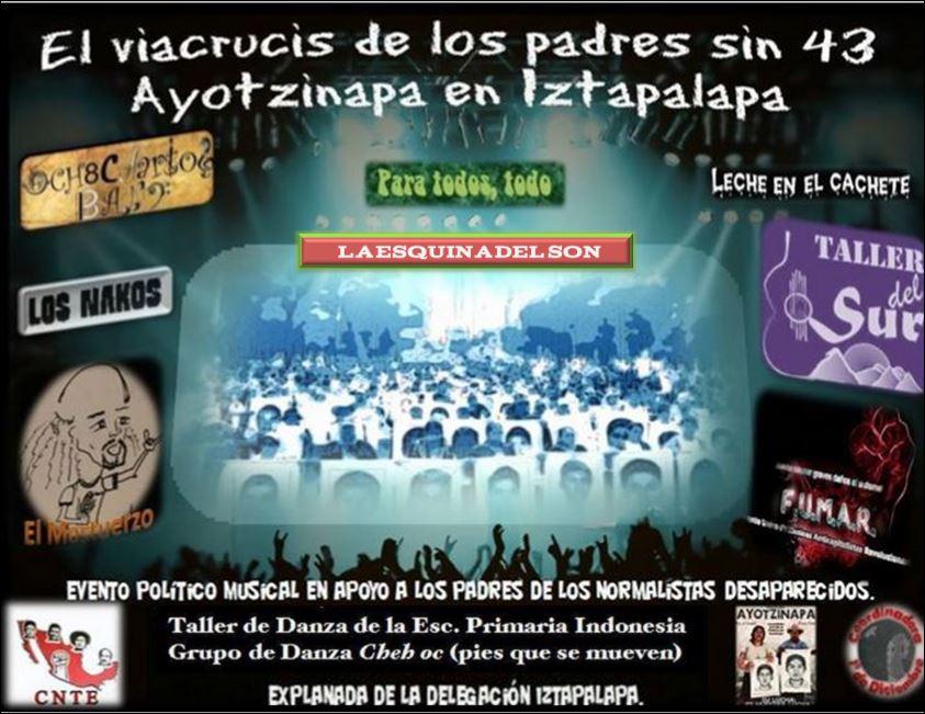 El viacrucis de padres sin 43 Ayotzinapa en Iztapalapa